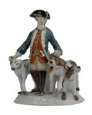 Meissen Porcelain Figurine - Man with Three Dogs